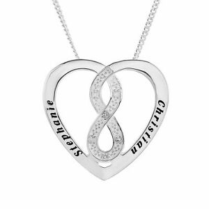 Real Silver Personalised Necklace Diamond Set Infinity Heart Pendant ANY 2 NAMES