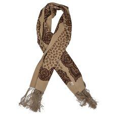 Codello Made in Italy Dress Schal Scarf Seide Silk Tan Braun Paisley Fringe COOL