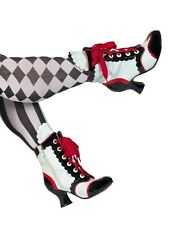 Black White Victorian Circus Vintage Steampunk Shoes Costume Boots Kitten Heels