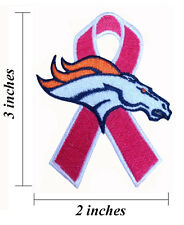 Denver Broncos Breast Cancer Awareness Ribbon Embroidered Iron On Patch.