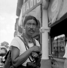 "TF168 Original 2 1/4"" photo NEGATIVE 1955 Thailand man moustache rings"