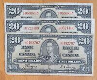 1937 $20 Canada Bank Note Coyne-Towers Prefix L/E Circulated