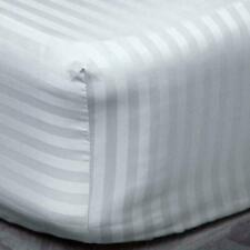 100% EGYPTIAN COTTON 600TC STRIPE FITTED SHEET EXTRA DEEP 40CM DOUBLE KING WHITE