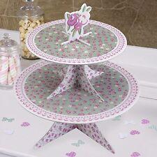 FRILLS & SPILLS CUPCAKE STAND 2 Tier Muffin Cake Wedding Tea Party Pink Green