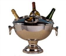"""Elegant Silver Wine Bottle Cooler Nickel Finish Brass 4 Bottles Large 15""""H 18""""W"""