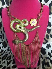 Betsey Johnson Vintage Jungle Book HUGE Green Snake Serpent Flower Bib Necklace