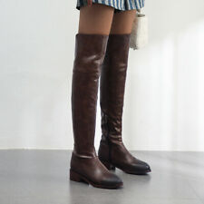 Plus Size 34-48 Womens Over Knee High Stretch Flat Zip Leg Ladies Low Heel Boots