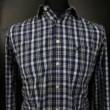 Paul Smith Mens Shirt MEDIUM Long Sleeve Blue Regular Fit Check Cotton