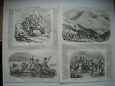 GRAVURE 1852. PEROU. SOLDATS PERUVIENS ET RABOUAS. BALSAS. FETE DES AMANCAËS....