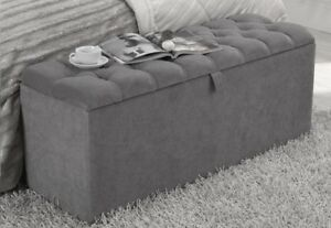 4ft Grey Chenille Downham Chesterfield Buttoned Ottoman Storage Box - RRP £199