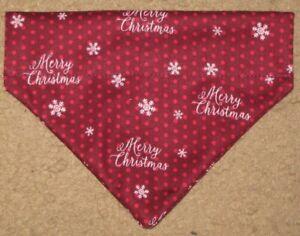 Christmas Merry Christmas and Snowflakes Dog Bandana - 5 sizes XS - XL