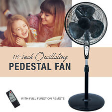 3 Speed Oscillating 18 In. Pedestal Fan with Remote Control Adjusting Tilt Black
