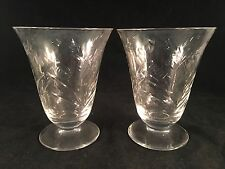 "Etched Floral Clear Glass Footed Drinking Glasses 4-1/2""H x 3-1/2""D, Set of 2"