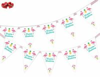 Exotic Happy Birthday Bunting Banner 15 flags Flamingo, Pineapple by Party Decor