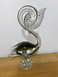 Large Murano Glass Swan Bird 29cm Vintage Original & Sticker Italian Art Glass