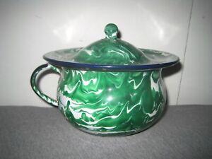 Vintage Collectible Green Swirl Enamelware Graniteware Chamber Pot Handle & Lid