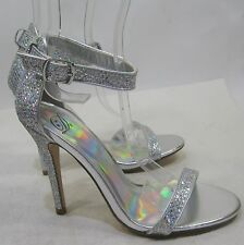"""Silver Glitter 4.5"""" Stiletto High Heel Toe/Ankle Strap Sexy Shoes Size 9"""