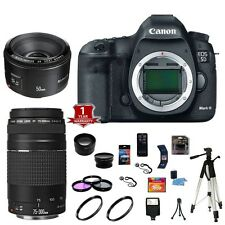 Canon EOS 5D Mark III / MK3 DSLR Camera 50mm 75-300mm Lens Kit Flash - NEW