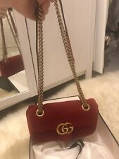 Small Gucci Marmont Red Velvet Bag