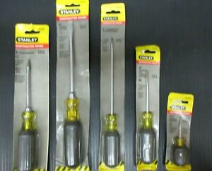 Stanley 5 pc  Slotted Screwdriver Set w/Rubber Grip USA Made