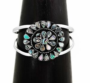 Artisan Abalone Sunburst Silver Cuff Bracelet from Taxco Mexico