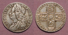 1757 KING GEORGE II SILVER SIXPENCE - Plain Angles - Nice Grade Coin