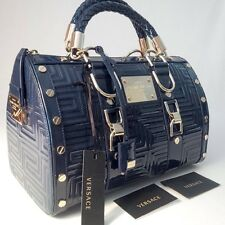 NEW GIANNI VERSACE COUTURE LEATHER GRECA QUILT DOCTOR HANDBAG BLUE MADE IN ITALY