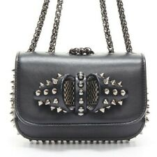 CHRISTIAN LOUBOUTIN Sweet Charity black studded spiked bow crossbody bag clutch