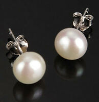 Genuine 2-14mm White Freshwater Cultured Pearl Sterling Silver Stud Earrings