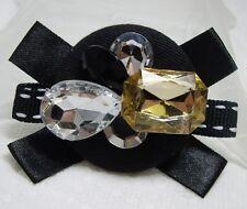 """Elegant Jeweled Top Stitch Grosgrain Ribbon Fabric Pin Brooch 2.5"""" x 2"""""""