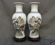 "2 Vintage Chinese Porcelain Mirror Vases Landscape Calligraphy 12.5"" JingDeZhen"