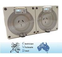 2 x 15 Amp 3 pin single phase Outlet Socket IP66 Weatherproof Industrial ONLY
