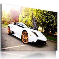 LAMBORGHINI MURCIELAGO WHITE Sports Car Wall Art Canvas Picture  AU775  MATAGA