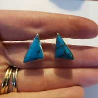 Vintage Sterling Taxco Signed Turquoise Earrings