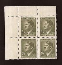WW2 Nazi Germany 3rd Reich Hitler head B&M 3K value bust stamp block MNH
