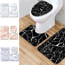 3PCS Set Non-slip Bathroom Shower Curtain Pedestal Rug Lid Toilet Cover Bath Mat