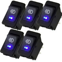 5Pcs Universal 35A 12V DC LED Car Fog Light Rocker Toggle Switch Blue Dashboard