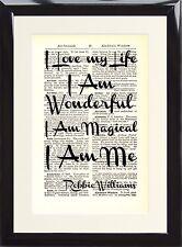 Robbie Williams Love My Life Music Gift Song Lyric Dictionary Art Print Memory