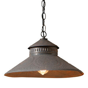 Irvins Country Tinware Shopkeeper Shade Light with Reg Star in Kettle Black