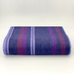 Soft and Warm Violet Purple Striped ALPACA Wool Blanket Queen Bed Sofa Throw