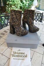 Vivienne Westwood Cuero Tobillo Botas de plataforma de Leopardo 5 38 BNWB