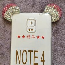 Samsung Galaxy Note 4 - Pink Diamond Rhinestone Minnie Mouse Ears Rubber Case