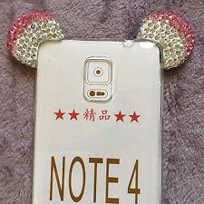 Samsung Galaxy Note 4 - Pink Diamond Rhinestone Minnie Mouse Ears Rubber Case