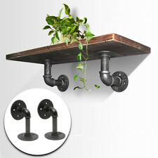 2Pcs Retro Industrial Black Iron Pipe Shelf Bracket Wall Mounted Shelf Supporter