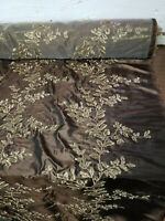 """Two Tone Embroidered 100% Poly Taffeta Silk Like Fabric 58"""" Wide, sold by yard."""
