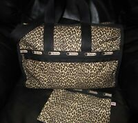 LeSportsac Candace Leopard Print Weekender Travel Duffel Bag Plus Pouch GR8 Cond