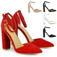 Womens High Heel Shoes Ankle Strap Ladies Block Pointed Toe Party Court Size 3-8
