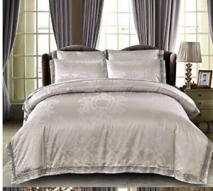 4pc. Luxury Silver Silk Satin Cotton Jacquard  Queen Lace Edge Duvet Cover Set