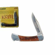Lansky pocket knife Lockback Rose wood handle with Sheath Free Shipping USA