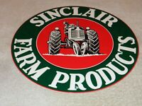 "VINTAGE SINCLAIR FARM PRODUCTS FARMER 11 3/4"" PORCELAIN METAL GASOLINE OIL SIGN!"